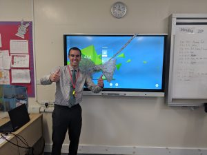 Mr Crouch with his touchscreen